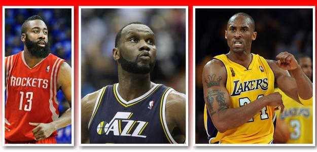 James Harden, Al Jefferson y Kobe Bryant