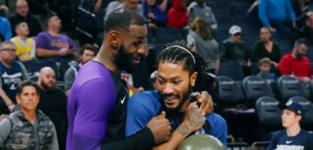 LeBron James y Derrick Rose, durante un Lakers-Wolves de esta temporada.
