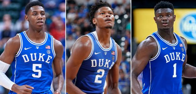 RJ Barrett, Cam Reddish y Zion Williamson, jugadores de Duke