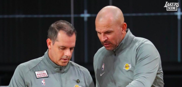 Frank Vogel y Jason Kidd, entrenadores de Los Angeles Lakers.
