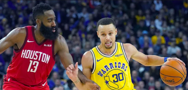 Stephen Curry y James Harden en un Warriors-Rockets de esta temporada.
