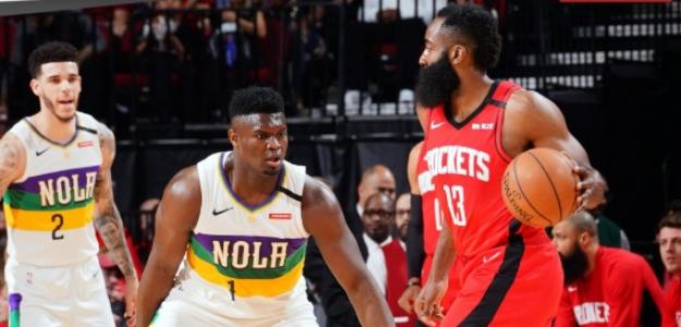 James Harden, jugador de Houston Rockets, y Zion Williamson, de los Pelicans.