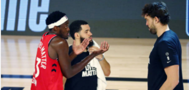 Pascal Siakam y Marc Gasol en playoffs NBA 2020. Foto: gettyimages