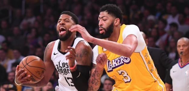 Paul George y Anthony Davis, durante un Lakers-Clippers.