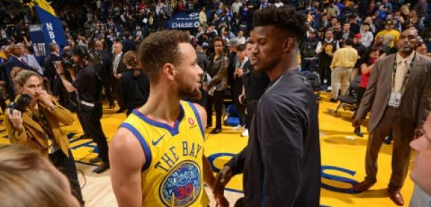 Stephen Curry y Jimmy Butler, jugadores de la NBA.